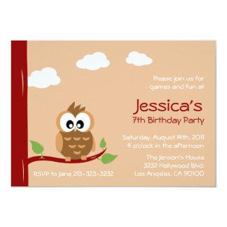 Partie mignonne d'anniversaire de enfant de hibou carton d'invitation  12,7 cm x 17,78 cm