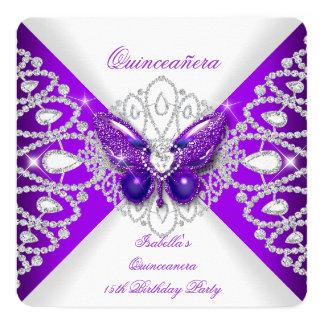 Partie pourpre 2 de diadème de papillon de carton d'invitation  13,33 cm