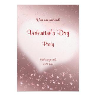 Partie rose de Saint-Valentin de coeur Carton D'invitation 12,7 Cm X 17,78 Cm