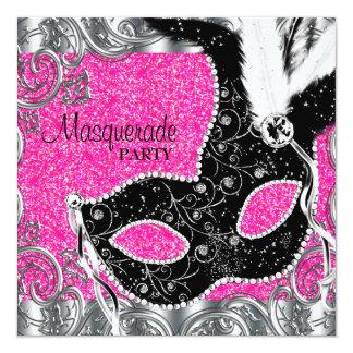 Partie rose et noire argentée de mascarade de carton d'invitation  13,33 cm