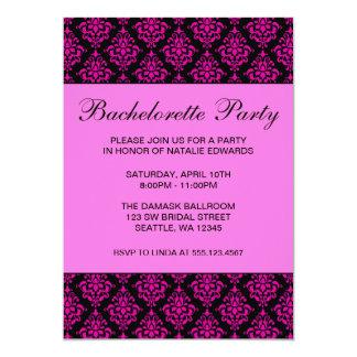Partie rose et noire de Bachelorette de damassé Carton D'invitation 12,7 Cm X 17,78 Cm