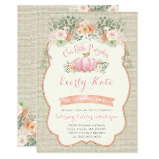 Partie rustique de citrouille d'invitation carton d'invitation  12,7 cm x 17,78 cm