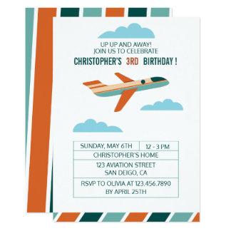 Partie vintage de fête d'anniversaire/avion carton d'invitation  12,7 cm x 17,78 cm