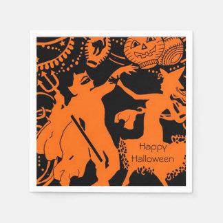 Partie vintage de Halloween d'art déco de diable Serviettes Jetables
