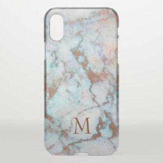 Parties scintillantes de Brown et pierre de marbre Coque iPhone X