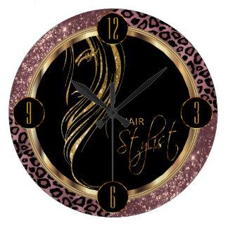 Parties scintillantes et empreinte de léopard grande horloge ronde