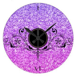 Parties scintillantes pourpres et roses élégantes grande horloge ronde