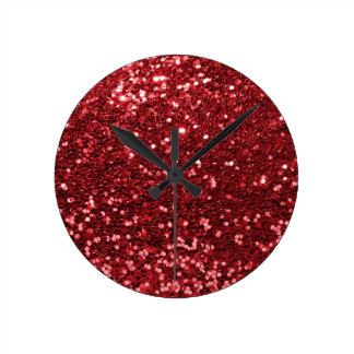 Parties scintillantes rouges de Faux Horloge Ronde