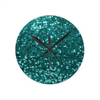 Parties scintillantes turquoises chics de Faux Horloge Ronde