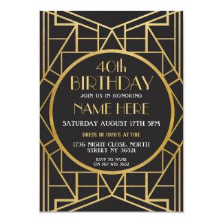 partij Gatsby van de Verjaardag van het Art deco Kaart