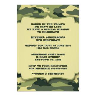 Partij van de Verjaardag van de Camouflage van het 12,7x17,8 Uitnodiging Kaart