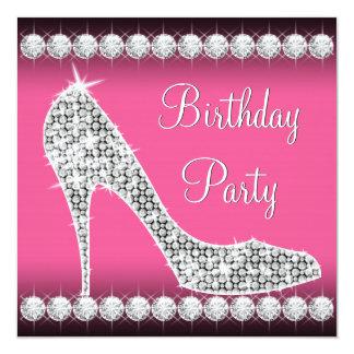 Partij van de Verjaardag van de Schoen van de Hiel 13,3x13,3 Vierkante Uitnodiging Kaart