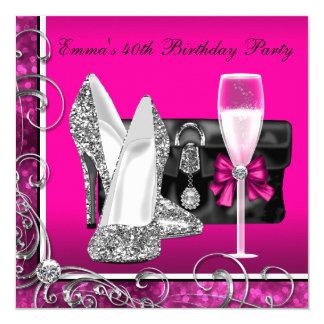 Partij van de Verjaardag van de vrouw de Hete Roze 13,3x13,3 Vierkante Uitnodiging Kaart