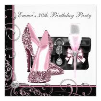 Partij van de Verjaardag van de vrouw de Roze en 13,3x13,3 Vierkante Uitnodiging Kaart