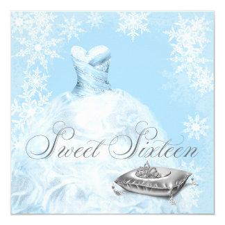Partij Zestien van de Sneeuwvlok van de winter 13,3x13,3 Vierkante Uitnodiging Kaart