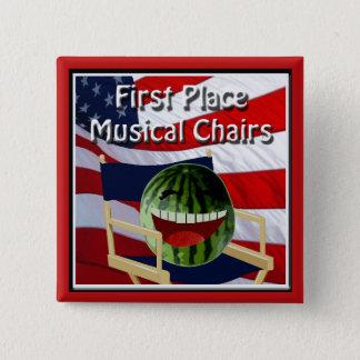 Party 4 juillet les chaises musicales du ęr badge carré 5 cm