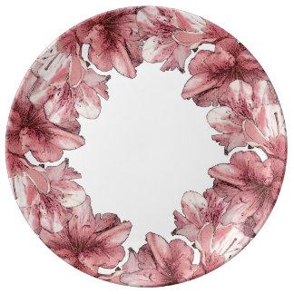 Past de roze Geïllustreerde Bloem de Reeks van het Porseleinen Bord
