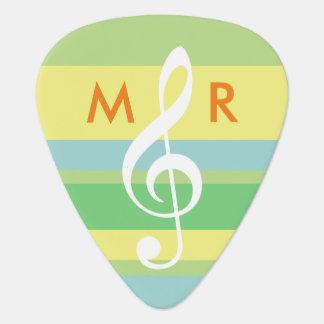 pastelkleur strepen met initialen & g-sleutel gitaar plectrums 0