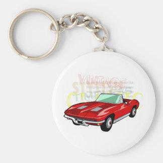 Pastenague de Corvette ou voiture de sport rouge Porte-clé Rond