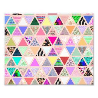 Patchwork floral abstrait de pastel de triangles tirage photo