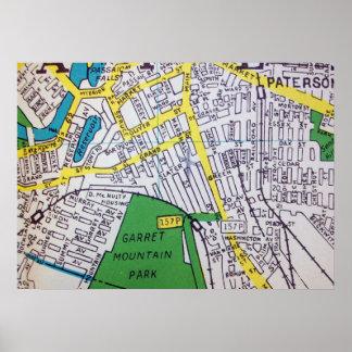 Paterson, affiche vintage de carte de NJ