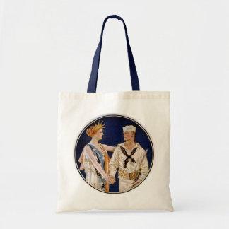 Patriotisme vintage, Madame Liberty avec l'homme Tote Bag