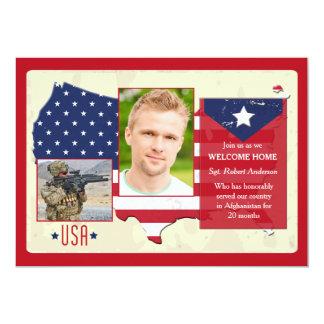 Patriottische de Foto van de V.S. van sterren en 12,7x17,8 Uitnodiging Kaart