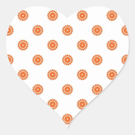 Patroon 4 van de Bloem van Celosia Oranje Hartvormige Sticker