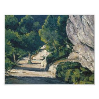 Paul Cezanne - paysage. Route avec des arbres dans Impression Photo