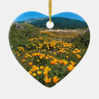Pavots de Californie jaunes de route de brique de Ornement Cœur En Céramique
