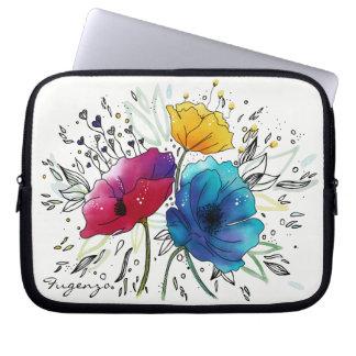 Pavots féeriques roses et bleus d'aquarelle protection pour ordinateur portable