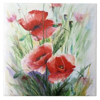 Pavots rouges, aquarelle fine par N.Stangrit Grand Carreau Carré