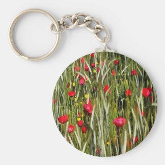 Pavots rouges dans un champ de maïs porte-clés