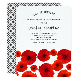 Pavots rouges épousant l'invitation de petit carton d'invitation 10,79 cm x 13,97 cm