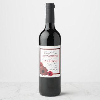 Pavots rouges et mariage de toile de jute étiquette pour bouteilles de vin
