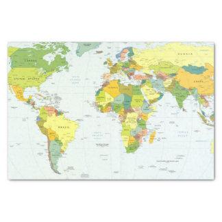 Pays d'atlas de globe de carte du monde papier mousseline