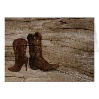 Pays occidental rustique de bottes de cowboy de ba carte de vœux