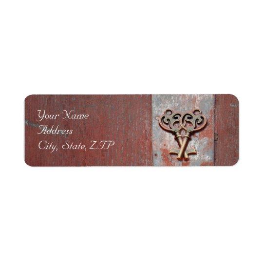 Pays peint en bois avec les fausses clés antiques étiquettes d'adresse retour