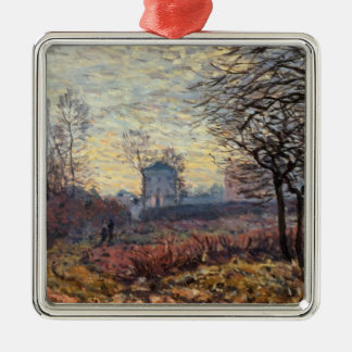Paysage d'Alfred Sisley   près de Louveciennes Ornement Carré Argenté