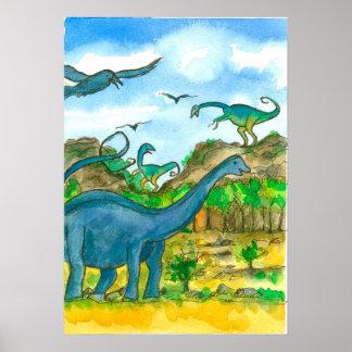 Paysage d'aquarelle de dinosaures poster