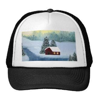 Paysage d'arbres de rivière de neige de glace casquette trucker