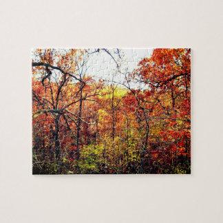 Paysage d'automne avec le puzzle de photographie