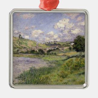 Paysage de Claude Monet  , Vetheuil, 1879 Ornement Carré Argenté