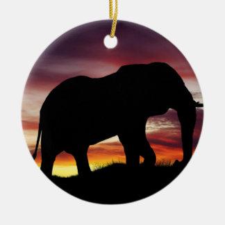 Paysage de coucher du soleil de safari de ornement rond en céramique