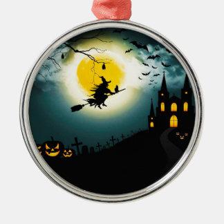 Paysage de Halloween Ornement Rond Argenté
