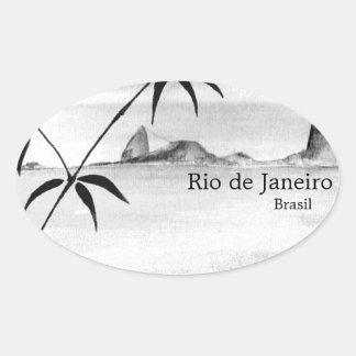 Paysage de Rio/du Brésil Sticker Ovale