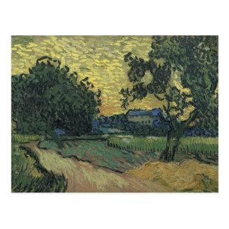 Paysage de Van Gogh au crépuscule 1890 Carte Postale
