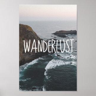 Paysage d'océan de l'envie de voyager   poster