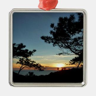 Paysage du coucher du soleil III la Californie de Ornement Carré Argenté