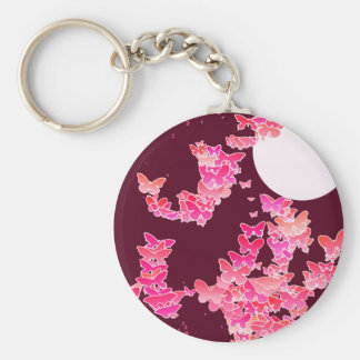 Paysage lunaire avec des papillons - rose, porte-clés
